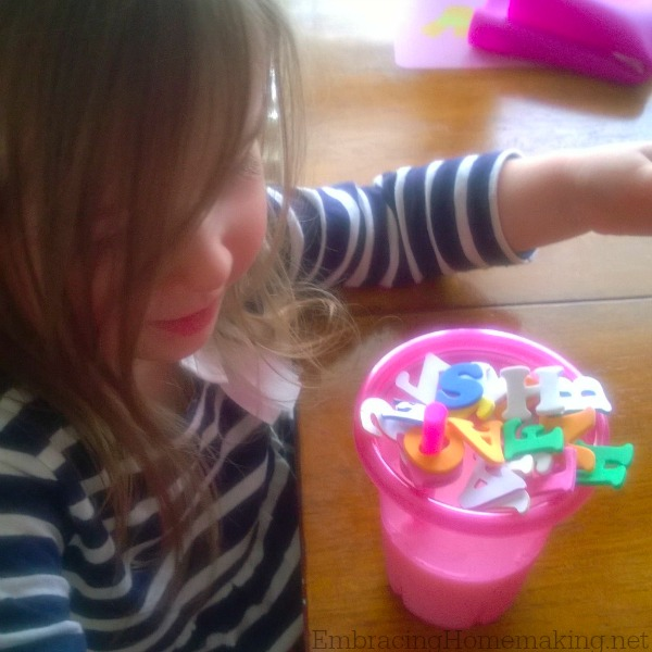 Playing with Alphabet Stickers