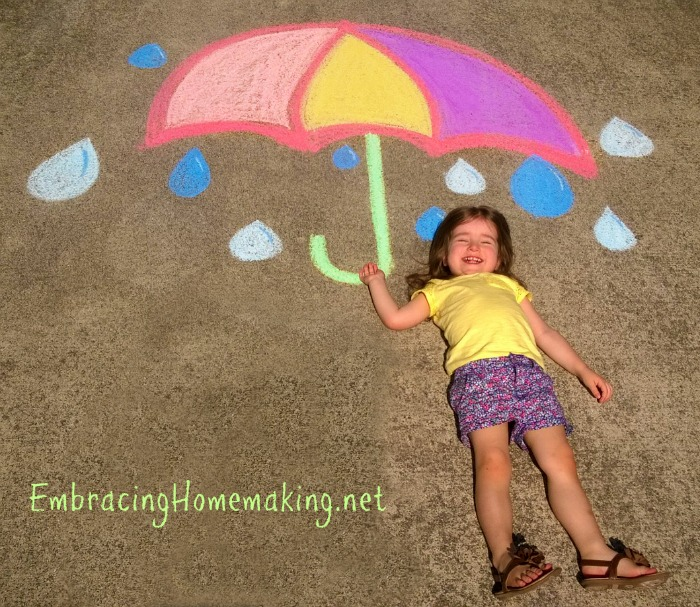 Chalk Drawing Umbrella Design