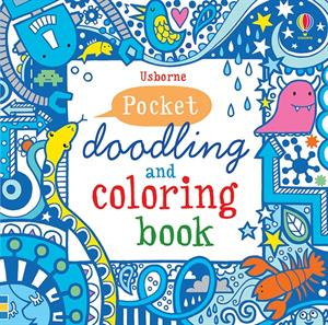 Pocket Doodling and Coloring Book Blue