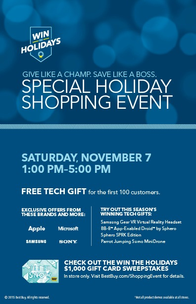Big Best Buy Special Holiday Shopping Event Nov 7