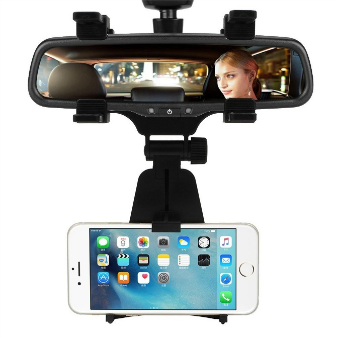 Rear View Mirror Cell Phone Holder