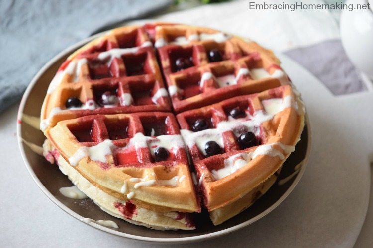 Blueberry Cake Waffles With Cream Cheese Icing