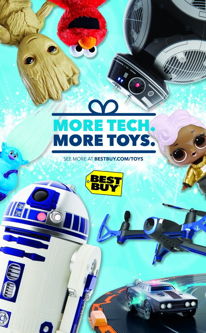 best buy is our go to spot for tvs computers and well just about any tech gadgetry but did you know they also carry toys not just video games but toy